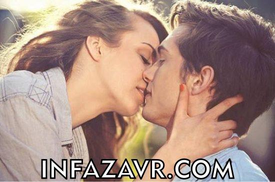 девушка целуется с парнем